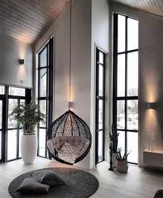 What a beautiful living space #living #swingchair #greytones #harcourtsadelaidehills