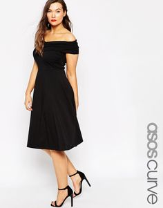 ASOS CURVE Midi Skater Dress With Bardot Cross Front