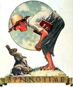 'Boy and Bunny' by Norman Rockwell