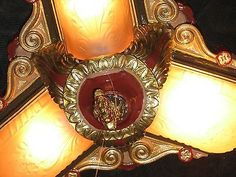 FABULOUS RESTORED VINTAGE ART DECO SLIP SHADE CEILING LIGHT FIXTURE rare to find