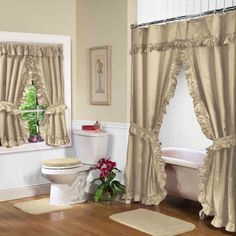 8 Best Double Swag Shower And Window Curtains Images Bathroom