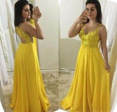 Yellow Prom Dress,A-Line Prom Gown,Spaghetti straps Prom Dress,Appliques Prom Gown 9793 Straps Prom Dresses, V Neck Prom Dresses, Prom Dresses 2018, Prom Party Dresses, Sexy Dresses, Bridesmaid Dresses, Formal Dresses, Long Evening Gowns, Applique Dress
