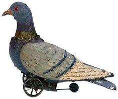 German Tinplate Mechanical Toy Pigeon circa 1890.