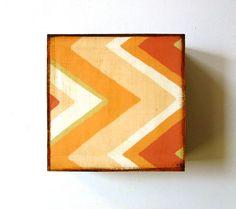 Chevron Zig Zag Arrow 5x5 art block on wood Peach Orange Yellow Pink Brown Geometric by Red Tile Studio