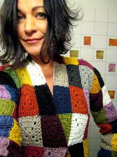 VMSomⒶ KOPPA Hippie Crochet, Love Crochet, Crochet Granny, Crochet Stitches, Knit Crochet, Granny Squares, Old Sweater, Crochet Jacket, Crochet Dresses