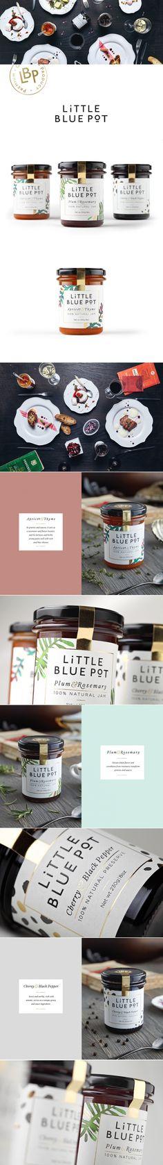 Little Blue Pot Jam packaging design by Coba&Associates Honey Packaging, Bottle Packaging, Food Packaging, Brand Packaging, Design Packaging, Jar Design, Bottle Design, Label Design, Food Design