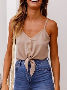 Khaki v-neck button placket front chic women crop cami top choies. Dressy Casual Outfits, Trendy Summer Outfits, Chic Outfits, Fashion Outfits, Fashion Boots, Spring Outfits, Womens Fashion, Cami Top Outfit, Crop Top Outfits