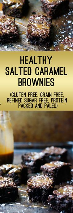 Healthy Salted Caramel Brownies Recipe (Gluten Free, Grain Free, Refined Sugar Free, Protein and Antioxidant Packed, Paleo)
