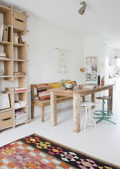 bench, dining room, home, interior, shelving, Aztec rug, stools, white, living room