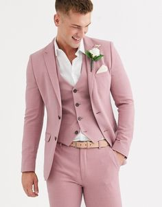 Find the best selection of ASOS DESIGN wedding super skinny suit jacket in crosshatch in rose pink. Shop today with free delivery and returns (Ts&Cs apply) with ASOS! Pink Suit Men, Blue Suits, Women's Suits, Pink Prom Suit, Dress Suits, Dresses, Prom Suits For Men, Suit For Men, Suits Women