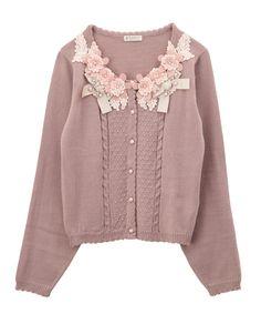 【先行販売】お花リボンレースカーデ | axes femme online shop