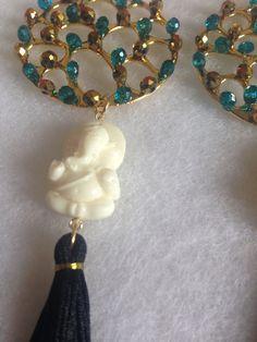 Aretes de cristales de Ganesha...Cruz de Amor