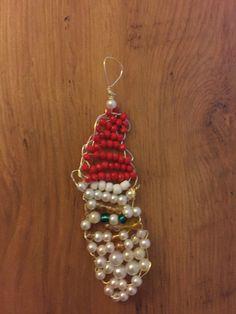 Santa clause beaded ornament