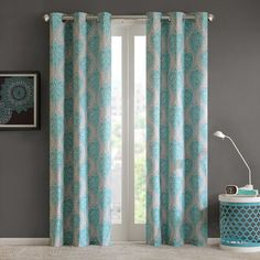 Intelligent Design 2-pack Lilly Damask Printed Curtains, Multicolor