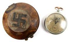 WWII GERMAN THIRD REICH POCKET WATCH W/ METAL CASE