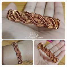 coiled, woven and braided copper bracelet noticeable and sturdy with elegant details Bijoux Wire Wrap, Wire Wrapped Bracelet, Bijoux Diy, Copper Wire Jewelry, Wire Jewelry Making, Jewelry Making Tutorials, Copper Bracelet, Handmade Wire, Handmade Bracelets