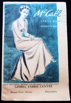 McCall Style News, December 1939 featuring McCall 3513