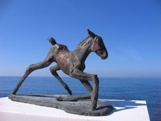 #sculpture by #sculptor Yanina Antsulevich titled: 'The Frst Hour of Life (Foal Bronze sculptures)'. #YaninaAntsulevich