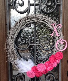 DIY Whitewashed Grapevine Valentine's Day Wreath with Fabric Rosettes and Feathers: #AustinMomsBlog