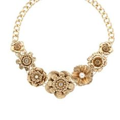 Floozie by Frost French Gold diamante and pearly flower necklace- at Debenhams.com