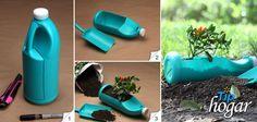 #Recilado. Con esta ingeniosa idea consigues 2 x 1, una maceta y además la palita, si piensan usar las botellas de los detergentes, procuren lavarlas antes para evitar daños a la planta.