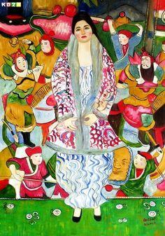 "Painting: ""Bildnis der Friederike Maria Beer (Portrait of Friederike Maria Beer)"" – by artist Gustav Klimt x 130 cm/ Oil on canvas/ Tel Aviv Museum of Art, Mizne-Blumental Collection) Gustav Klimt, Klimt Art, Vienna Secession, Beer Art, Z Arts, Tel Aviv, Art Oil, Painters, Art Museum"