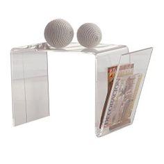 Mesa de rincón con revistero minimalista, acabado transparente