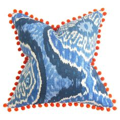 Love the pom poms. Cotton pillow with a feather-down fill. Product: PillowConstruction Material: Cotton and down fillColor: MultiFeatures: Hidden zipper closureMade in the USAInsert includedDifferent pattern on each side Dimensions: x and Care: Spot clean Blue Pillows, Accent Pillows, Throw Pillows, Textiles, Custom Pillows, Decorative Pillows, Pom Pom Trim, Pom Poms, Fabric Wallpaper