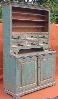 """Southern Painted Yellow Pine Cupboard, 8 Drawer over 2 Door With Plate Rails  Dimensions:H 85"""" x L 55 1/2"""" x D 21 1/2"""""""
