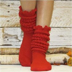 SCRUNCHY lace slouch socks red women l Cotton slouched hooters socks colors red Catherine Cole Lace Socks, Cotton Socks, Ankle Socks, Cotton Lace, Red Socks, Cable Knit Socks, Slouch Socks, Knitting Socks, Embroidery Fabric