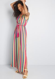 Styled in Vibrance Striped Maxi Dress in XS - Sleeveless Long by BB Dakota from ModCloth Midi Sundress, Chiffon Maxi Dress, Striped Maxi Dresses, Dressy Dresses, Maxi Skirts, Modest Outfits, Work Outfits, Summer Dresses, Unique Dresses