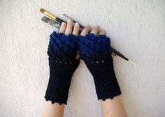 Crocheted crocodile stitch mittens fingerless gloves - black and blue Transitional.  Spring Accessories.