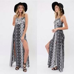 Double Split Maxi Dress Super cute light weight maxi dress with double splits! Looks great paired with a hat and your favorite sandals! Length: 51 inches from the tip to bottom Waist: 32 Bust 33 Split: 28 inches 100 Polyester *This comes in sizes Medium and Large as well* Cecil Lee Dresses Maxi