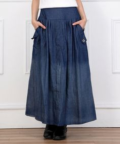This Blue Ombré Denim Maxi Skirt - Women by Reborn Collection is perfect! #zulilyfinds