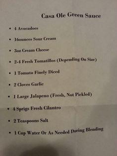 Casa ole green sauce! My personal recipe