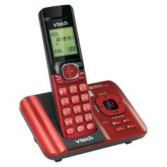 Vtech DECT 6.0 Cordless Phone System (CS6529-16) with Answering Machine, 1 Handset - Red