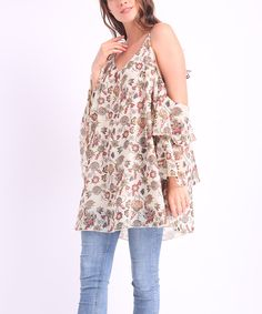 Take a look at this Beige Floral Double-Bell Cutout Tunic - Plus today!