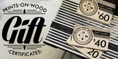 wooden gift cards