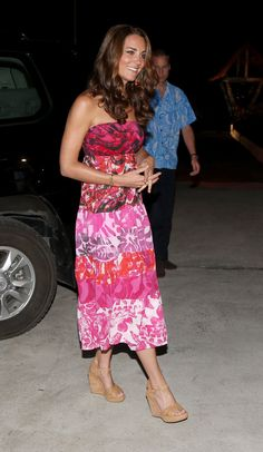 Her pink batik-printed dress — a gift from a local Solomon Islands boutique called Island Print — is so cute.