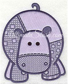 Embroidery Hippopotamus applique