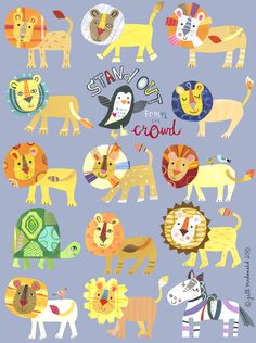 Stand out of the crowd. At a show like Surtex that's what we're all hoping to do! Painting For Kids, Art For Kids, Rock N Folk, Jill Mcdonald, Lion Illustration, Book Projects, Art Lessons, Print Patterns, Pattern Design