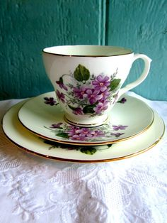 Tea cup Vintage Teaset Violet flower Tea by TheDorothyDays, China Cups And Saucers, China Tea Cups, Teapots And Cups, Teacups, Tea Cup Set, Tea Cup Saucer, Tea Sets, Purple Tea Cups, Vintage Tea