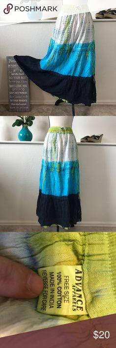 Festival Hippie Boho Full Flowy Skirt Beautiful hippie festival fun full skirt. Waist measures 32 inches around not stretched and 36 inches long. Advance Apparels Skirts Maxi