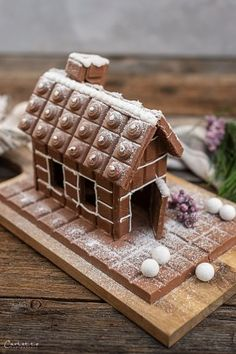 Schokohaus Landhäuschen_1515 Burger Bar, Diy Weihnachten, Gingerbread, Waffles, Breakfast, Desserts, Christmas, Cake, Chocolate House