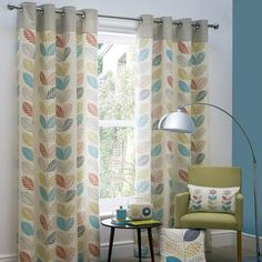 Dunelm Oslo Lined Eyelet Curtain Collection Ready Made Eyelet Curtains, Blackout Eyelet Curtains, Pleated Curtains, Lined Curtains, Curtains Dunelm, Leaf Curtains, Retro Curtains, Colorful Curtains, Kitchen Curtains
