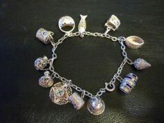 Sterling Silver Charm Bracelet Enamel Filigree Antique Early 1900's RARE 12 Mint | eBay
