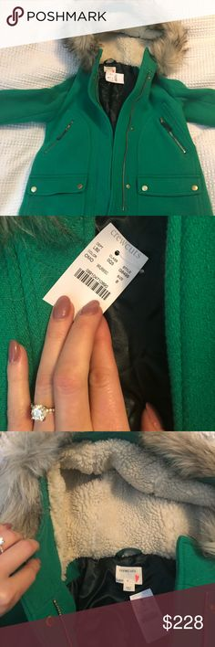 Girls JCrew Chateau Parka Brand new. Tags attached. Beautiful green wool parka. My daughter is picky and wore it once for 20 minutes for family photos. J. Crew Jackets & Coats Pea Coats