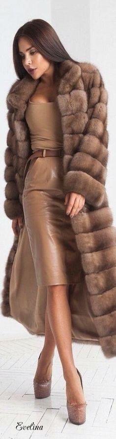 Long fur coat and leather dress Sable Fur Coat, Long Fur Coat, Fur Coats, Fur Fashion, Leather Fashion, Fashion Outfits, Womens Fashion, Fabulous Furs, Winter Stil