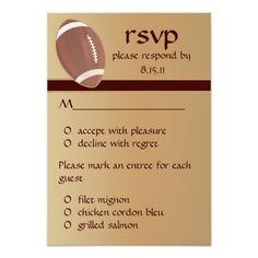 Sport Wedding RSVP Invitations Football Wedding - Graduation RSVP Response Card