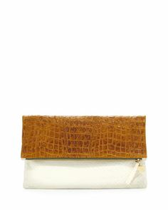 Croc-Embossed & Woven Leather Fold-Over Clutch Bag, Clare V.